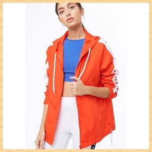 New Forever21 Active Contrast-Striped Windbreaker